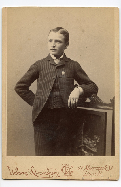 1890s Photograph of Young Man Wearing Badge in Lowell ...
