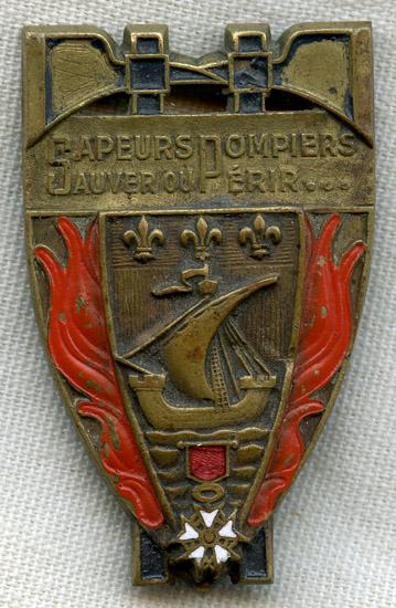 flying tiger antiques online store 1930s paris fire brigade badge insigne sapeurs pompiers paris. Black Bedroom Furniture Sets. Home Design Ideas