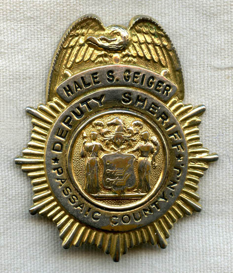 1940s-1950s Passaic County, New Jersey Named Deputy Sheriff Badge