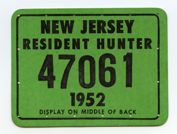 Vintage 1952 new jersey hunting license flying tiger for Fishing license nj