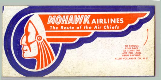1950s Mohawk Airlines Baggage Label Flying Tiger Antiques