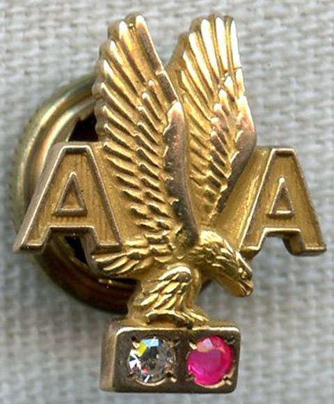 1950s American Airlines 15 Years Of Service 10k Lapel Pin