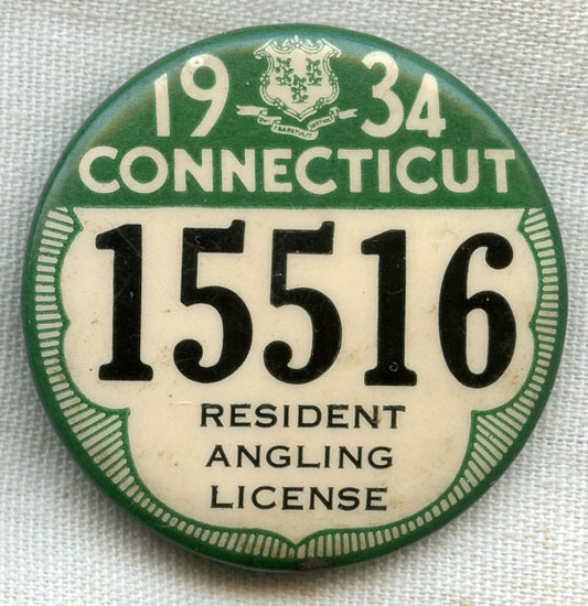 1934 connecticut resident angling fishing celluloid for Fishing license ct