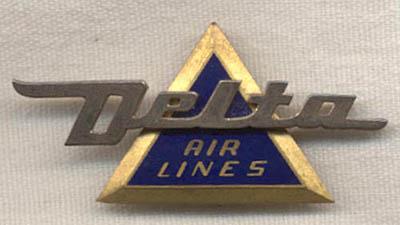 1950s Delta Airlines Flight Attendant Hat Badge 3rd Issue