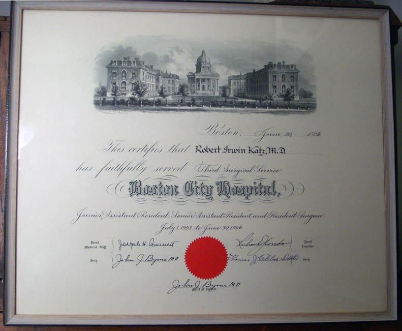 1956 Boston City Hospital Doctor's Residency Certificate for Korean War  Naval Medical Office