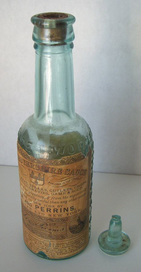 Wonderful 1890s Lea Perrins Worcestershire Sauce Bottle With Top Original Label