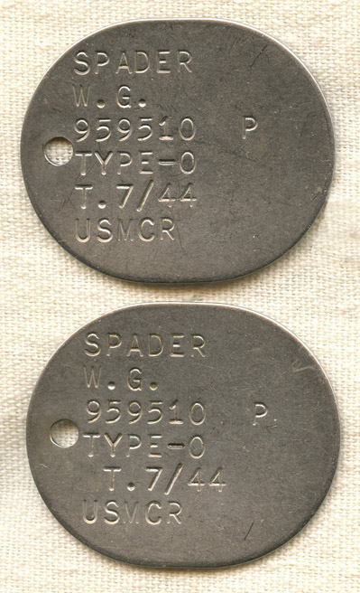 Pair Wwii Us Marine Corps Reserve Dog Tags For W G