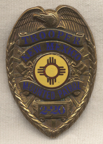 Rare 1940s New Mexico Mounted Patrol Trooper Badge Troop