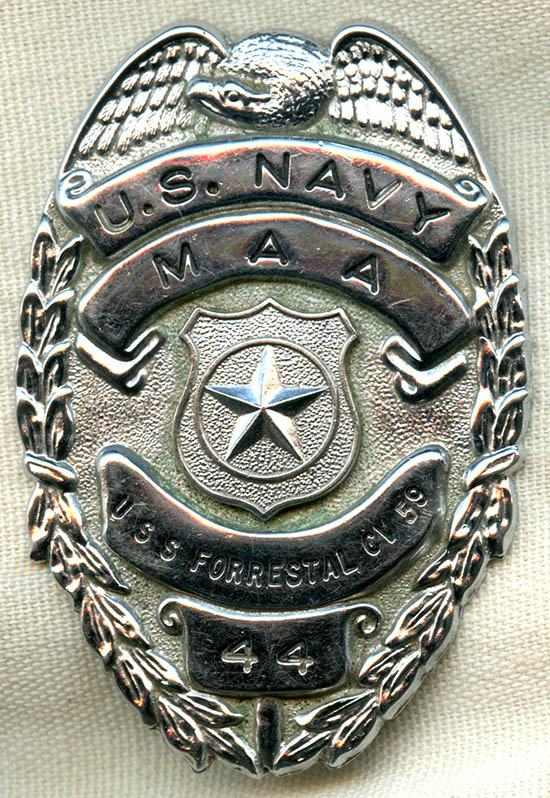 late 1970 u0026 39 s usn master at arms badge for the uss forrestal cv