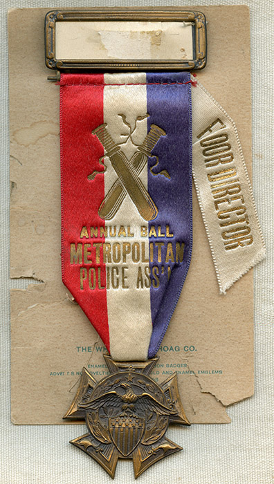 1910's-20's New York City Metropolitan (Metro) Police Assoc  Annual Ball  Floor Director Event Ribbon