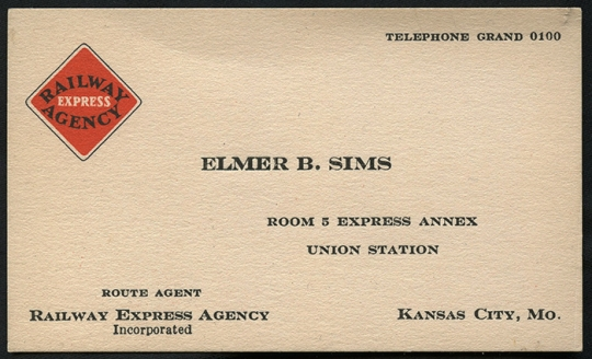 1920's Railway Express Agency Route Agent Business Card from Kansas City, MO