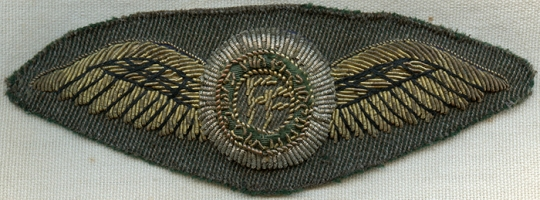 Rare 1930's Irish Army Air Corps Pilot Wing  Full Dress in Bullion on Irish  Uniform Gabardine Wool