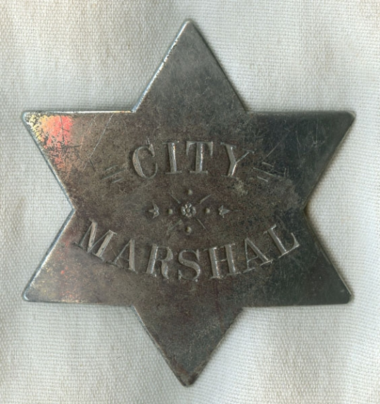 Lawman large star Badge: Marshal Old West Police