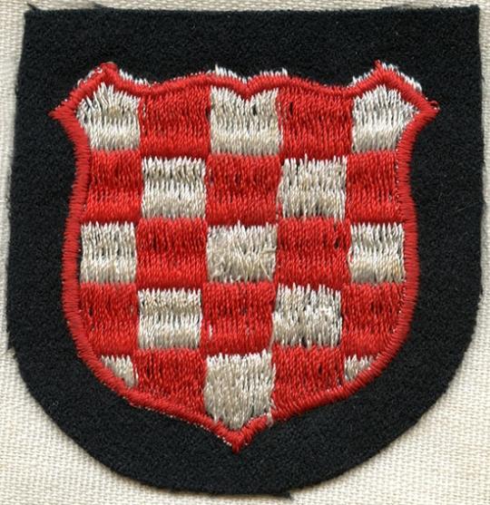 WW2 German Army Croatian Volunteer HRVATSKA sleeve shield cloth arm patch badge