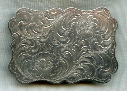 Vintage Sterling Engraved Belt Buckle