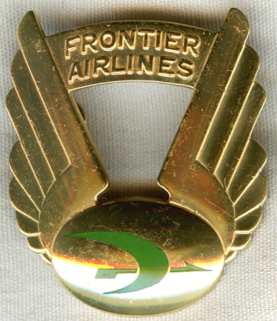 Early 1960s Frontier Airlines Pilot Cap Badge 2nd Issue