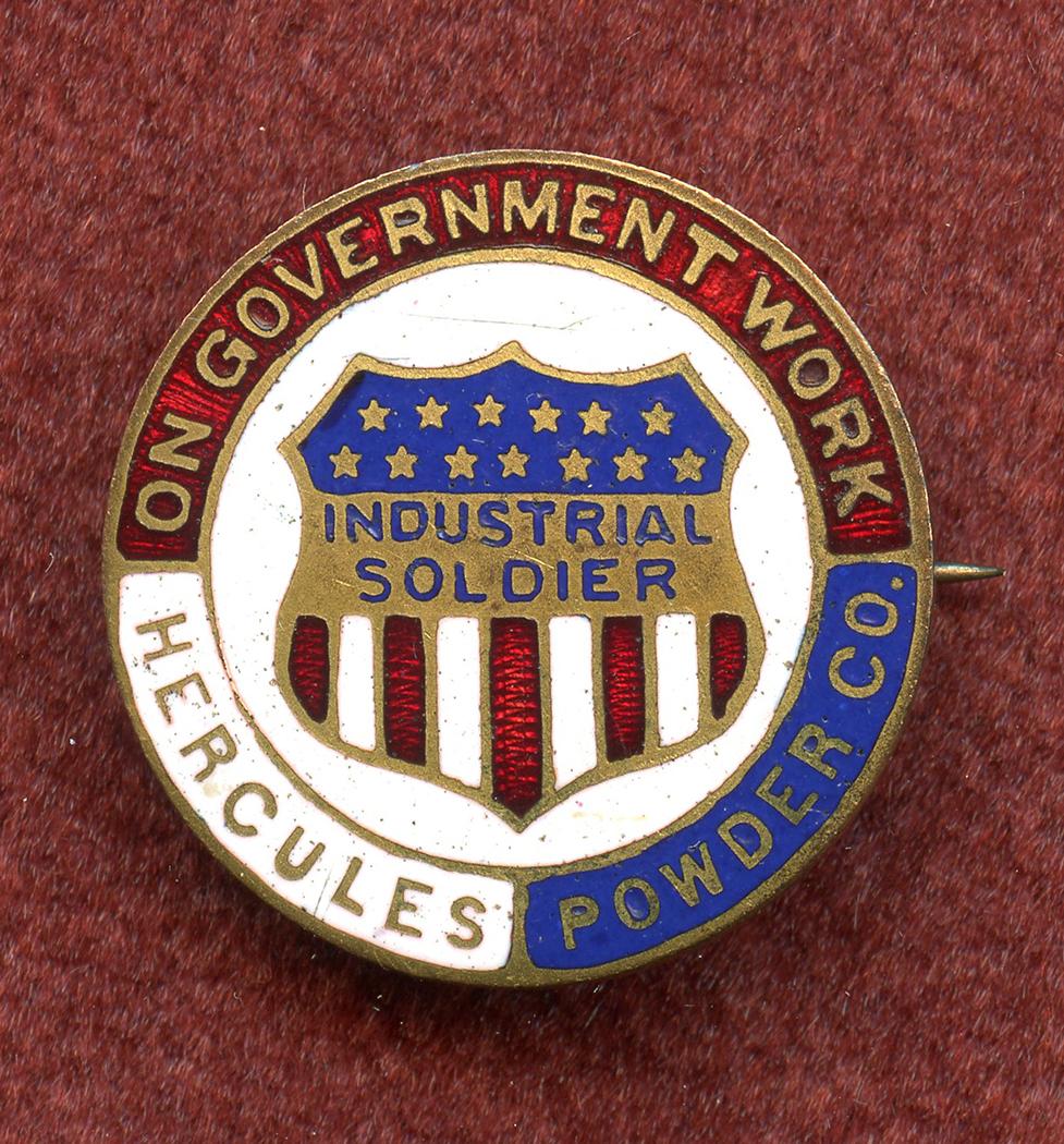 Beautiful & Rare WWI Hercules Powder Co  War Worker Enameled Service Pin