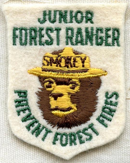 Smokey the Bear USFS Junior Forest Ranger Patch US Forest Service USFS Green Kha