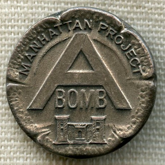 WWII Manhattan Project Silver Level Lapel Pin for Wartime Service by