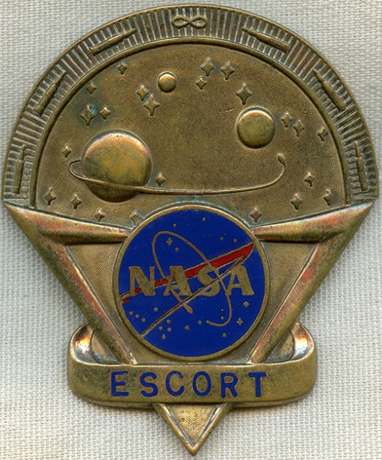Rare, Late 1950's, early 1960's NASA Escort Hat Badge by