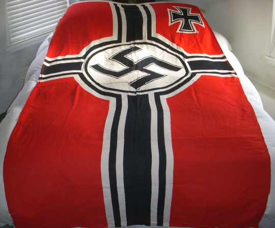 WWII Nazi Naval Kriegsmarine Battle Flag by Rare Maker Curt