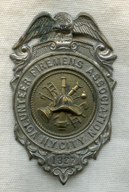1890s New York City Volunteer Firemens Association Badge