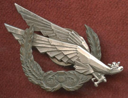 WWII Polish Army 1st Rifle Brigade EM Badge Made in Scotland