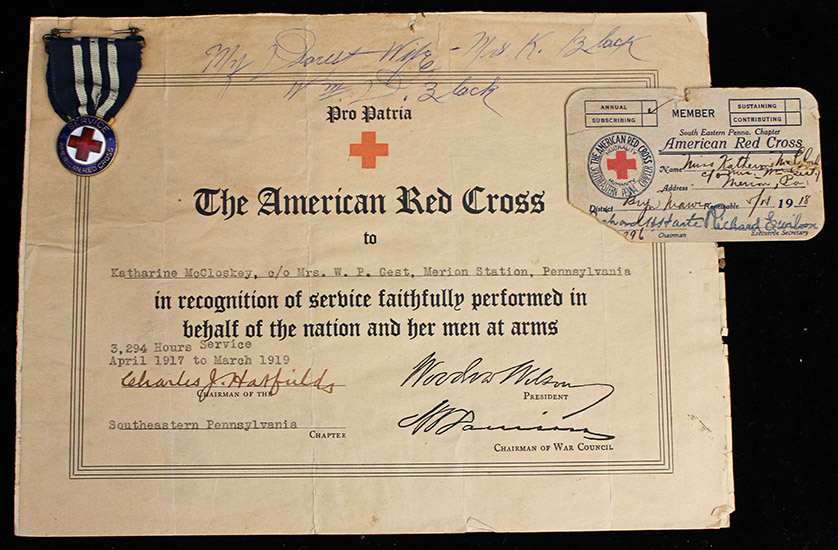 Nice Wwi American Red Cross Service Medal Award Document
