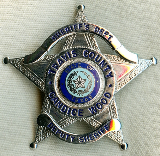 1980's Travis County, Texas Woman Deputy Sheriff Badge Named to