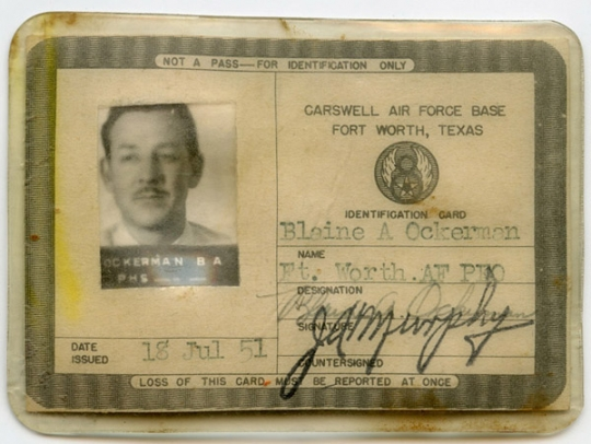 Korean War USAF 8th AF Civilian Photo ID Card from Carswell AFB, Texas