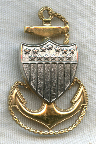 871925ce Minty 1930s US Coast Guard (USCG) CPO Hat Badge in Plated Brass: Flying  Tiger Antiques Online Store