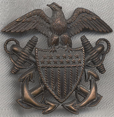 Great WWII Hat Badge for USN Med  Off  Attached to US Marine Corps
