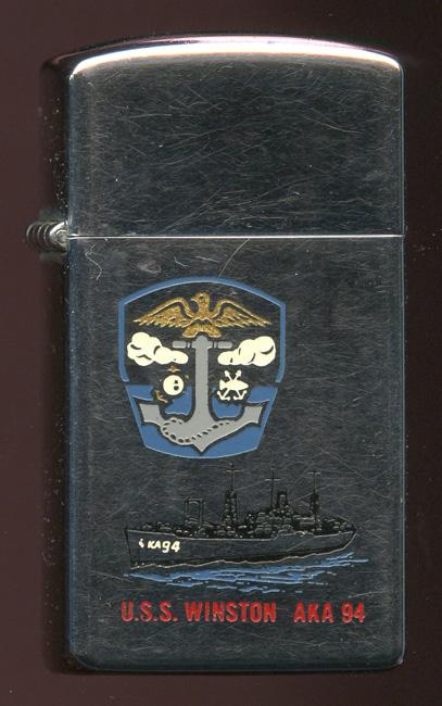 1966 USN Slim Zippo Ship Lighter Presented by Commanding Officer of USS  Winston AKA-94