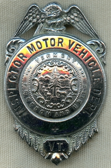 Very Rare 1940's VT MVD Inspector 4th Issue Badge in Exc