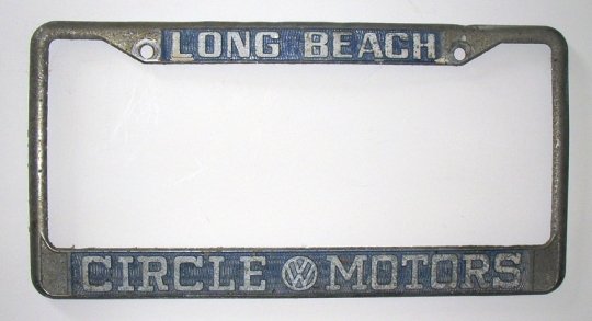 Great 1960s Volkswagen Dealer License Plate Frame from Circle Motors ...
