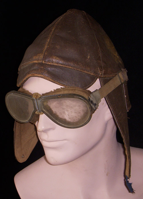 WWI-Early 1920s Leather Pilot Helmet with Goggles: Flying ...